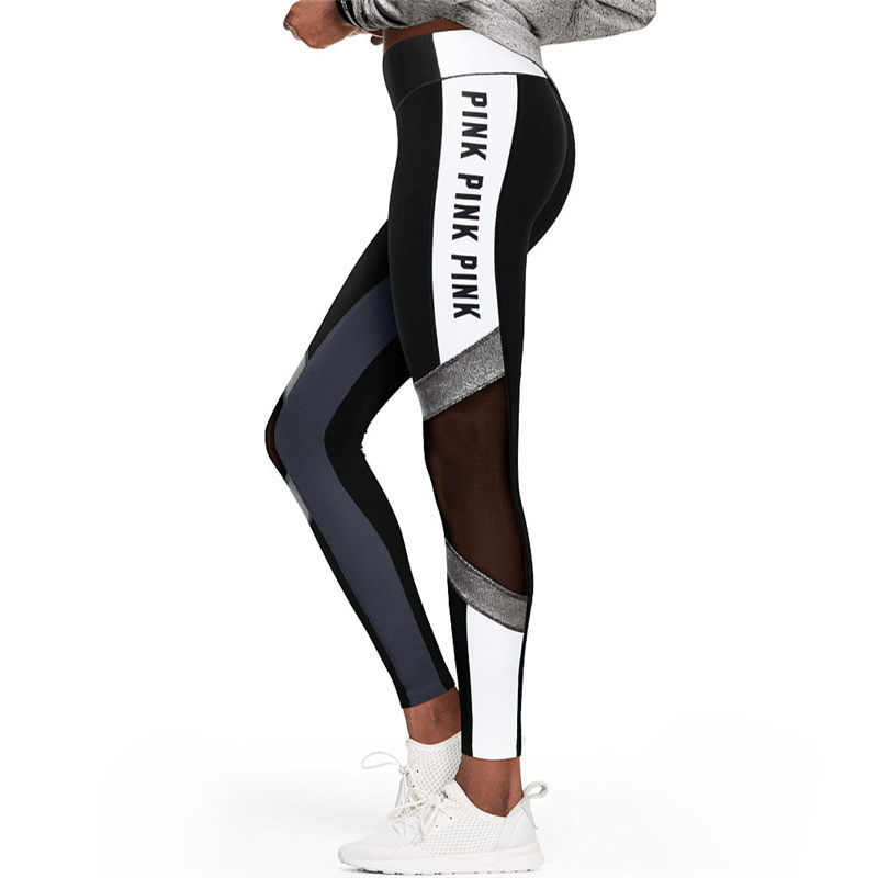 Pink Letter Printing Fitness Leggings Women High Waist Black White Patchwork Mesh Fitness Pants Workout Female Leggings