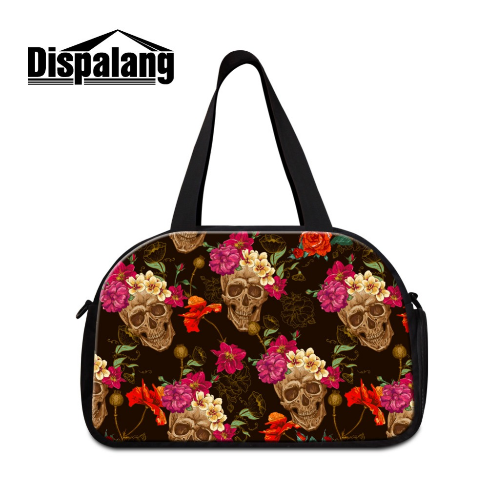 Dispalang Fashion Lightweight Skull handbags for travel Cute big luggage bags for Ladies Coolest duffle bags for girls Traveling