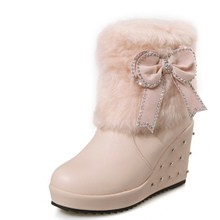 Brown Black Pink White Fur Boots Women Wedges Heel Rhinestone Slip-On Boots Bow Lady Shoes Woman Fashion Big Size 34-43
