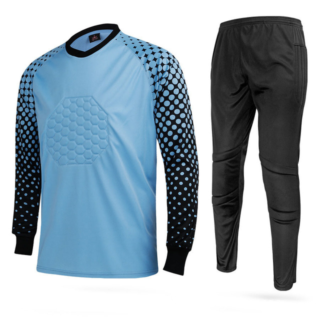 2dbcd5e83 2018 New Kids Soccer Goalkeeper Jersey Set Men s Sponge Football Long  Sleeve Goal Keeper Uniforms Goalie Sport Training Suit