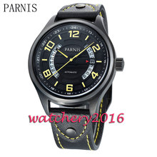 Luxury Parnis 43mm black dial Sapphire glass PVD case date adjust miyota Automatic movement men s