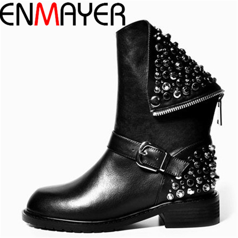 ФОТО ENMAYER New Female Cool Motorcycle Boots  Fashion Simple Zipper Boots Comfortable Bottom Ankle Boots for Women New Martin Boots