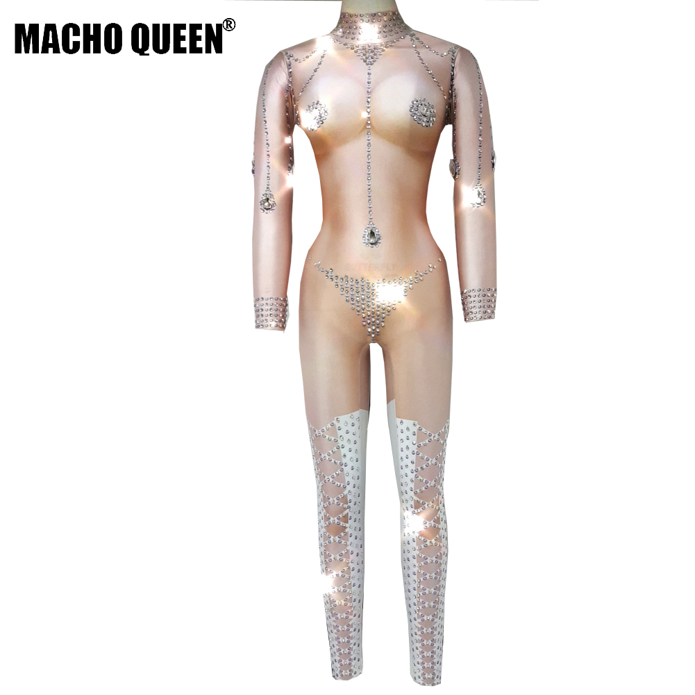 Nude Sparkly Rhinestone Bodysuit Crystal Jumpsuit Carnival Jewelred Drag  Queen Performance Costumes Party Celebrity Clothing-in Ballroom from  Novelty ... 155b7a067f3c
