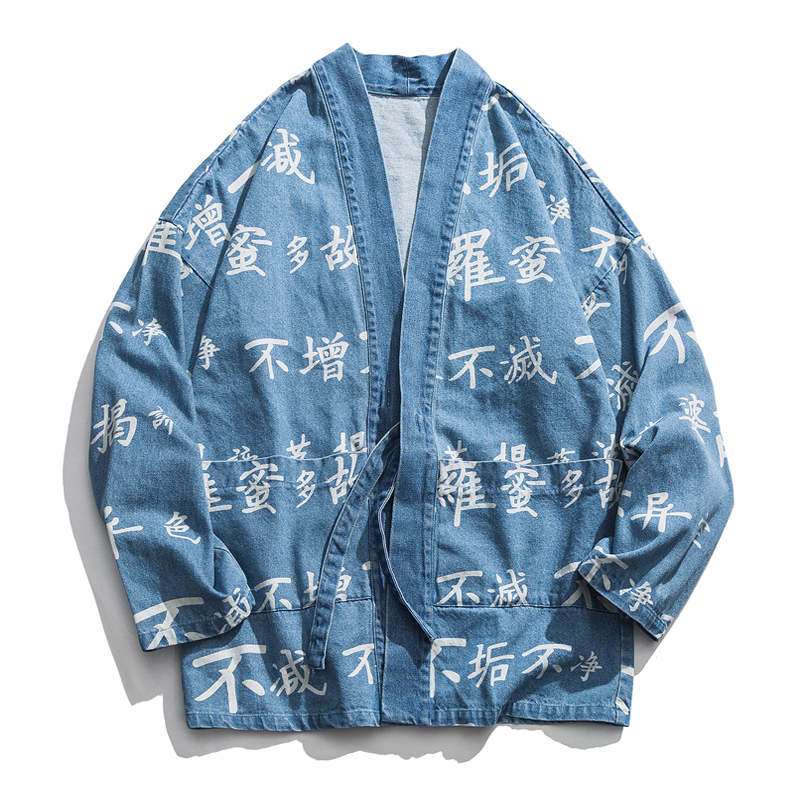 New Men Chinese Print Jean Coat Male Jacket Streetwear Hip Hop Fashion Casual Denim Jacket