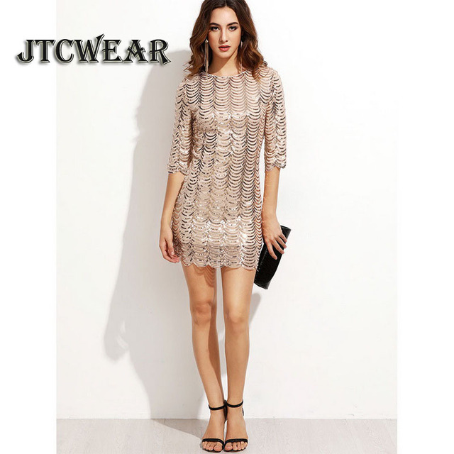 d84433d8b5b 2018 New Fish Scales Dress Sexy Shining Women Sequins Dress O-Neck Half  Sleeve Charming