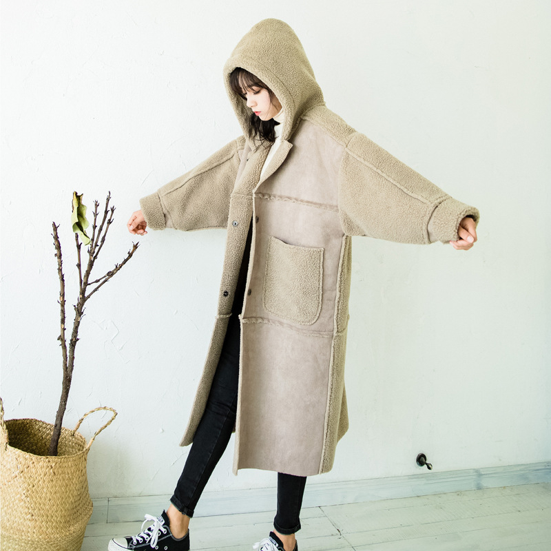 Daim Manteau Femmes Long Mode Peluche Peau En Spliced Col Fourrure Épaisse Coton Vêtements 2018 D'hiver De Laine Ljj0175 Photo Color EDH29I