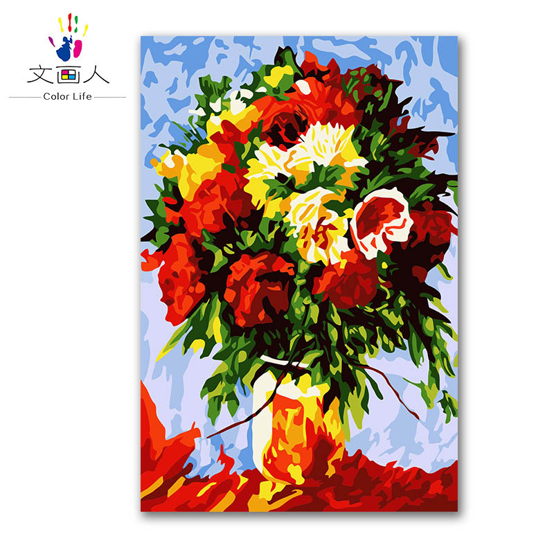 plant flower Colorful vase arrangement DIY digital oil painting by numbers with kits on canvasa for kids Christmas Birthday gift