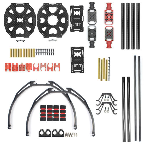 JMT J510 510mm Carbon Fiber 4-axle Foldable Rack Frame Kit with High Tripod for DIY Airplane Copter RC Quadcopter Accessories jmt diy mini frame kit j630 carbon fiber 4 axle foldable rack for helicopter rc airplane quadcopter kits spare parts