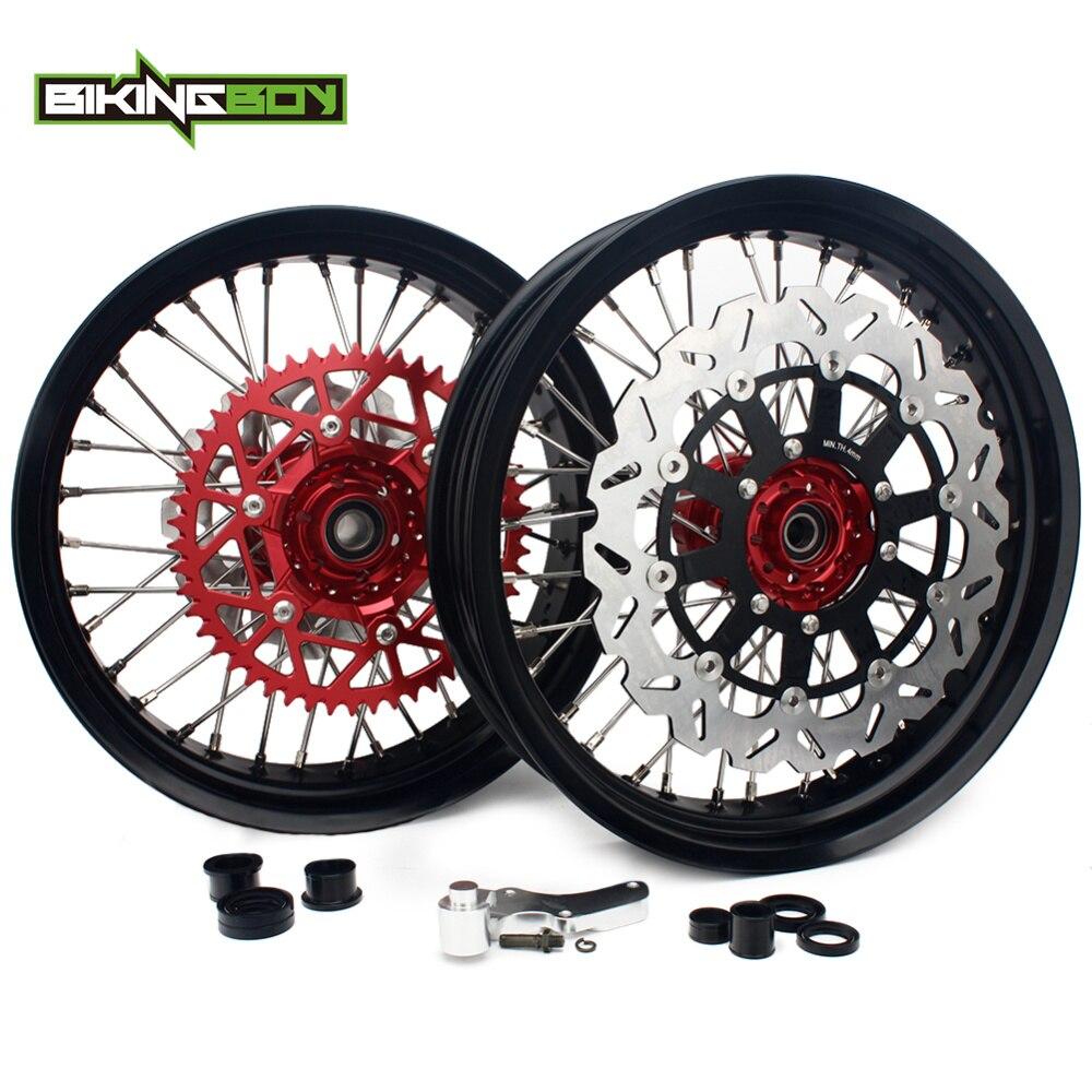 BIKINGBOY 17 roues jantes moyeux disques support pignon Set pour Honda CRF 250 R 04-13 CRF 450 R 04-12 CRF250X 04-14 CRF450X 04-13