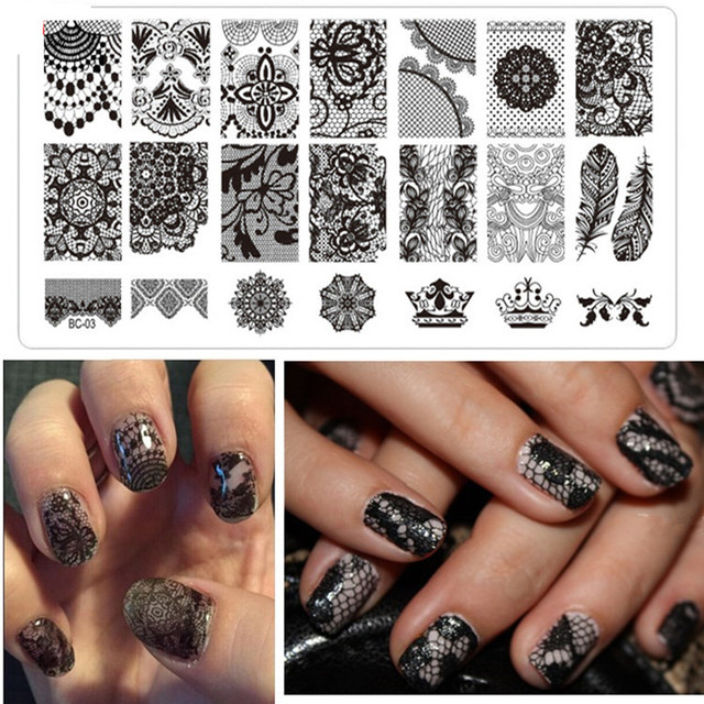 spitze nagel platte charme dame vorlage spitze design muster bild stanzen stahl platte nail art diy - Nagel Muster