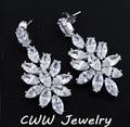 Luxury Water Drop Big Flower 2015 New Design CZ Diamond Large White Bridal Long Dangle Earrings CZ039