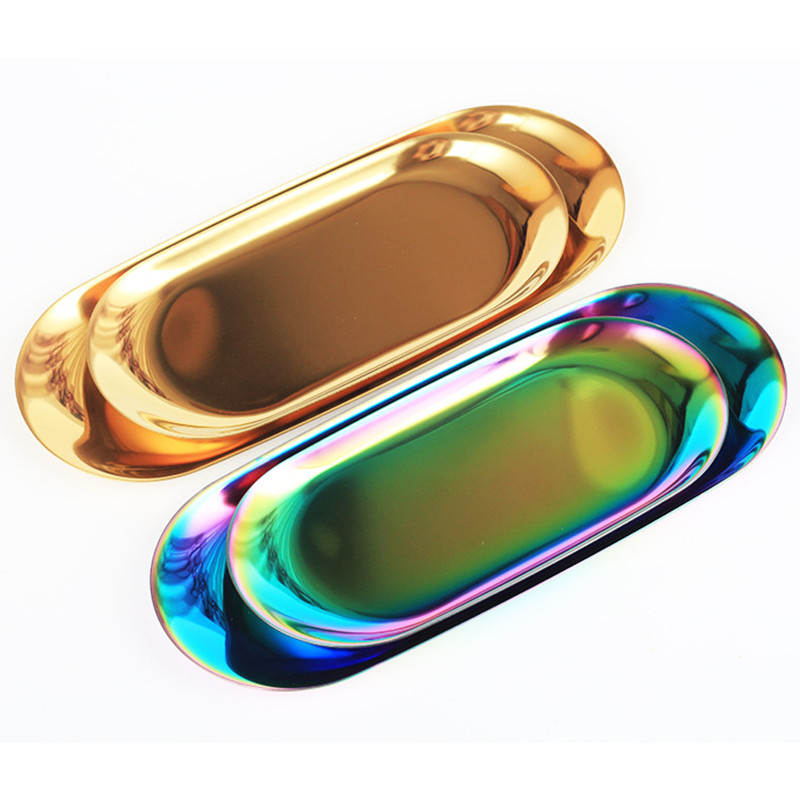 DoreenBeads Metal Stainless Steel Oval Plate Dessert Pastry Fruit Snack Coffee Cup Dish Plate Gold Color Silver Color 1PC
