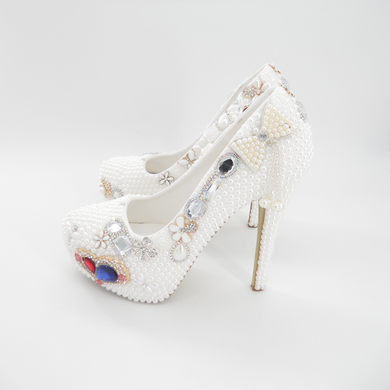 Ultra High Heel White Pearls Women Bling Wedding Shoes Platform Bridal  Shoes Blue Heart Rhinestones Pumps 02-in Women s Pumps from Shoes on  Aliexpress.com ... 769857017f02