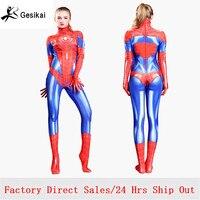 2018 Girls Women Spider Gwen Cosplay Costumes Movies Zentai Spandex Bodysuits Jumpsuits Spider Gwen Female Halloween Costumes