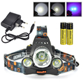 Boruit XML T6 +2R5 UV Purple LED Headlamp 6000 Lumens Rechargeable Headlight Bicycle Lamp For Hunting With Charger 18650
