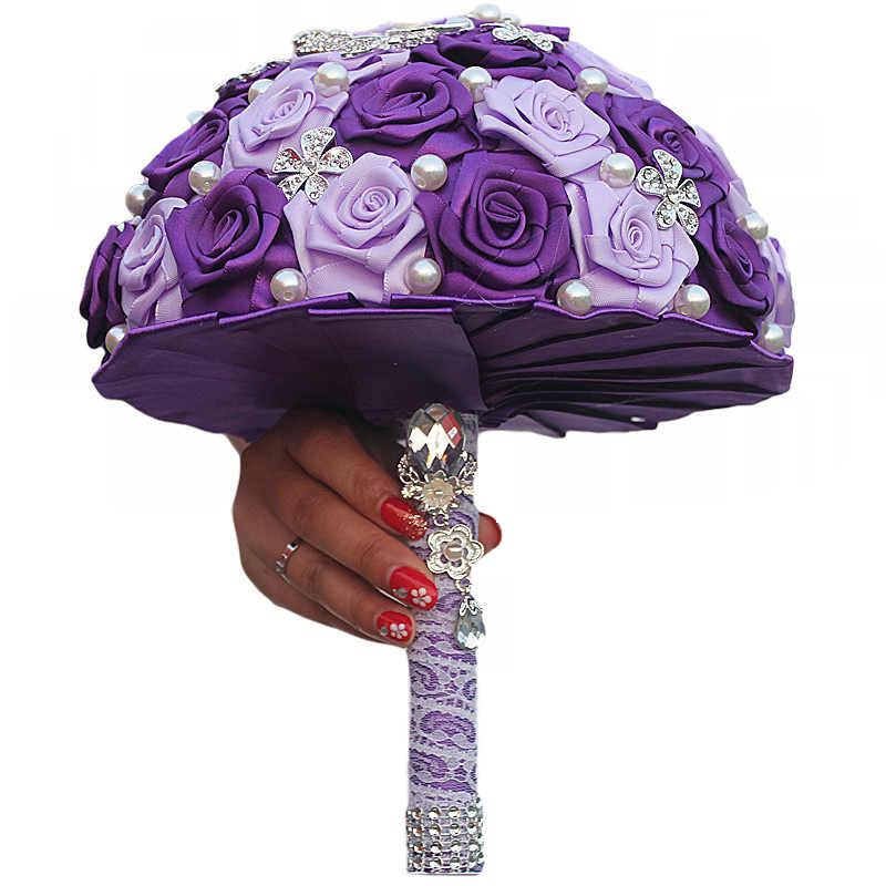 901521ff2172f JaneVini Luxury Purple Rose Wedding Bouquet For Brides Crystal Satin Pearl  Artificial Flower Wedding Brooch Bridal Bouquet Beads