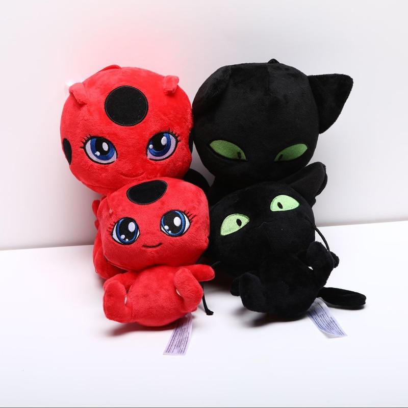 Coccinelle fille en peluche jouet dame Bug & chat Noir en peluche pendentif Clip porte-clés doux animaux en peluche jouets pour enfants enfants cadeaux de noël