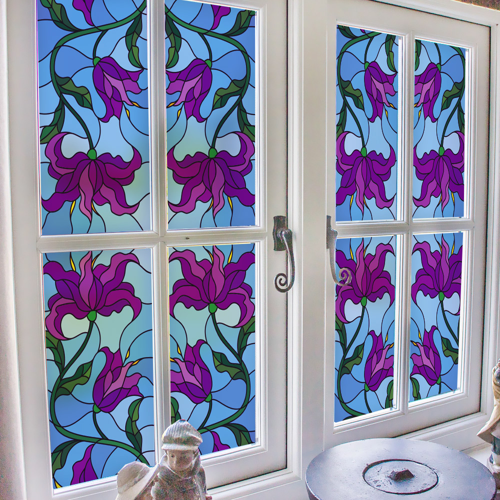 200CM Brand Stained Glass Sticker Flowers Purple Blue European Style Vinyl Frosted Privacy Window Film Home Decor For Glass Door in Decorative Films from Home Garden