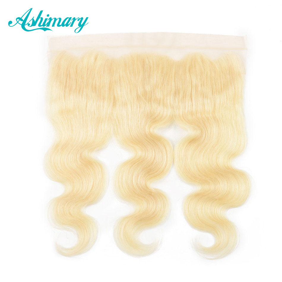 Ashimary Hair Blonde Lace Frontal Closure Remy Hair Blonde 613 Frontal Brazilian Body Wave Lace Frontal Pre Plucked 8-20inch image