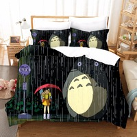 High quality Cartoon 3D Totoro Designer Bedding Sets Bedclothes With Pillowcase Duvet Cover King Size Bed Set Home Textiles F