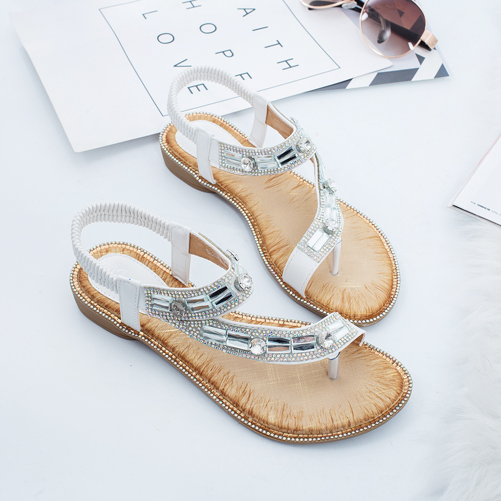 Image 5 - Gykaeo Ladies Summer Shoes Bohemian Style Blue Red Fashion Sandals Women Lattice Stripe Flat soled Beach Shoes Zapatos De Mujer-in Women's Sandals from Shoes