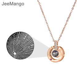 JeeMango Stainless Steel Waterdrop Pendant Necklace Jewelry Rose Gold 100 Language 'I Love You' Forever Love For Lover N18265