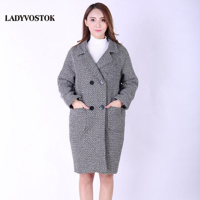 Ледивосток Демисезонное Шерстяное пальто Европейский стиль Женская куртка Кашемир Весенняя верхняя одежда 8824