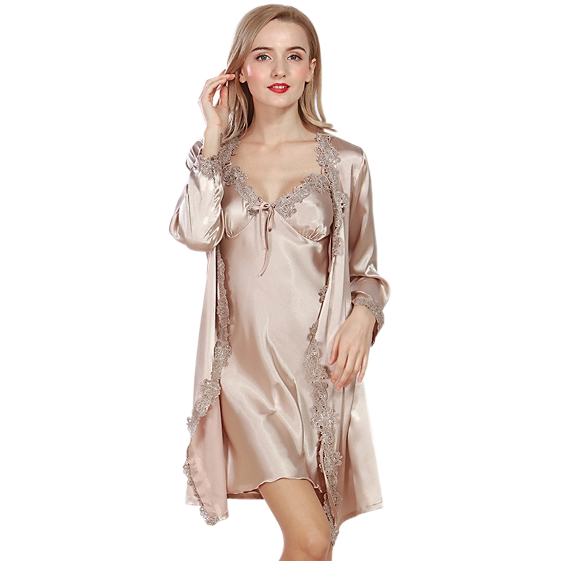 Lace Luxurious Women Robe Gown Set Faux Silk Satin Bath Robe Dressing Gown Sexy Ladies 2 Pcs Female Luxury Sleepwear Suit