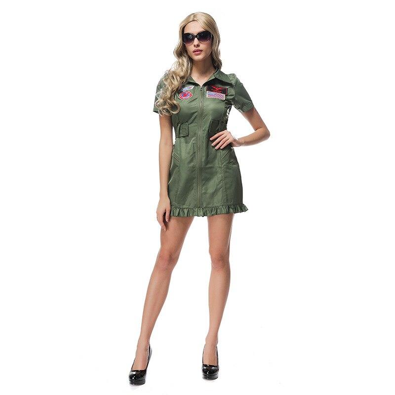 Plus size top gun flight dress costume