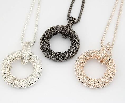 Moda duga ogrlica za žene veliki krug zlato / srebro boja lanac Maxi - Modni nakit - Foto 5