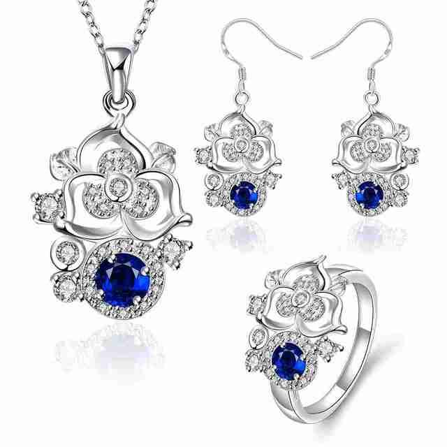 Envío Libre 2015 más nuevo de la joyería de la joyería de plata enredadera Rhinestone anillo + collar + pendientes collier plastron