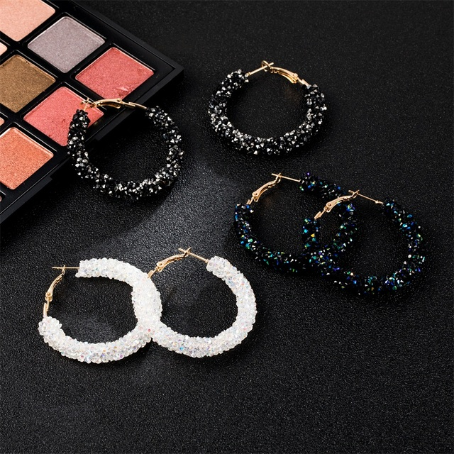 Vienkim Brand New Design Fashion Charm Austrian crystal hoop earrings Geometric Round Shiny rhinestone big earring jewelry women