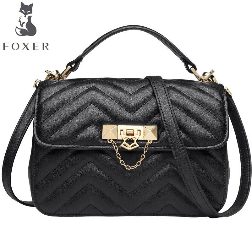 FOXER simple wild handbag bag female 2019 new fashion temperament rhombic slung shoulder casual handbagFOXER simple wild handbag bag female 2019 new fashion temperament rhombic slung shoulder casual handbag