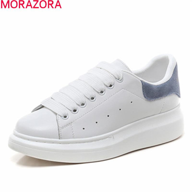 MORAZORA 2019 Handmade genuine leather shoes women sneakers round toe lace up Flat Couple Shoes fashion