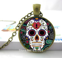 Hot Sale Glass Dome Jewelry Lock Giant Cutout Sugar Skulls Necklace Pendants Skull Necklace For Men/ Women(China)