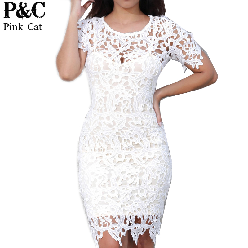 Online Shop Plus Size Women Hollow Out Crochet Lace Bodycon Dress