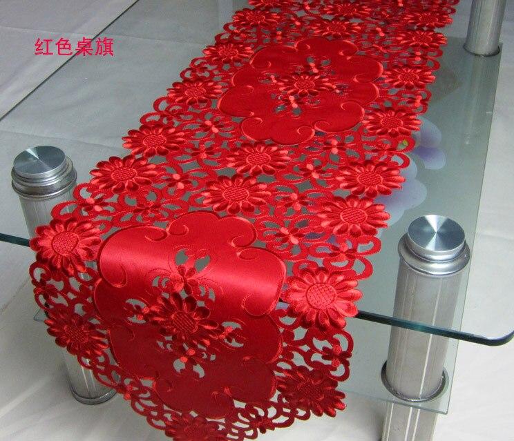 Глазури красный праздничный скатерть Свадебные столбец вырез вышивка журнальный столик gremial вышитые ТВ крышка шкафа