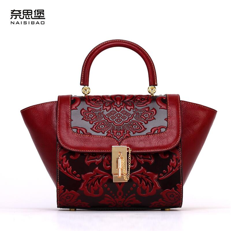 Famous brand top quality Cow Leather women bag   new Chinese style embossed handbag Retro Shoulder Messenger Bag Wings package