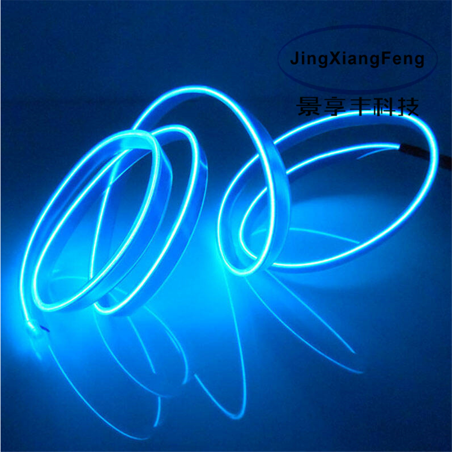 JingXiangFeng 2.3mm 2meter flexible neon light glow el salon wire flat led strip for car interior lights with Controller hot sale 10 colors 3m clamping edge two splices led flexible el wire neon glow light with 12v controller for most cars styling