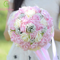 SSYFashion Romantic Rose Flower Bridal Bouquet Pink Lace Holding Flower High-end Wedding Bouquets Celebration Props Accessories