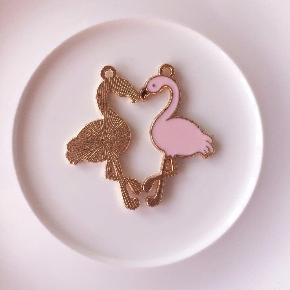 10 шт. 17*28 мм Фламинго эмаль Талисманы сплава птица подвеска для браслет серьги делая поделки аксессуар