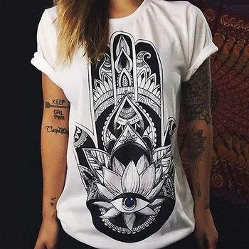 T shirts hand eye kawaii emoji women summer camisas tee shirt femme top ropa polera de mujer tumblr female clothing 2017 Fashion