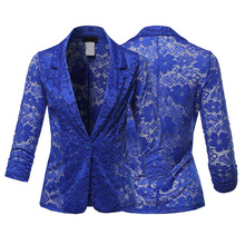 Hollow Out Floral Lace Casual Solid Tunic Women Suits Blazer 2019 Spring feminino jacket Ladies Single Button Notched OL Blaser