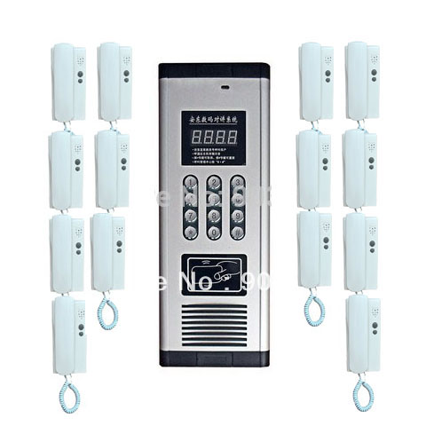 SMTVDP New Arrival Press Direct dialing non-visual building intercom system,14-apartments audio door phone ,ID card unlock