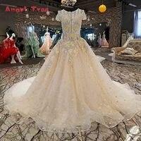 Robe De Soiree Elegant Evening Dress Bride Champagne Lace Flower Beading Short Sleeve Long Party Prom