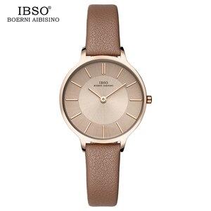 Image 2 - IBSO marka 8 MM ultra cienki zegarek kwarcowy kobiety szare skórzane damskie zegarki 2019 luksusowe panie zegarek Montre Femme