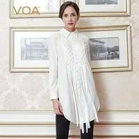 VOA 2017 Fall Fashion Solid White Business Long Blouse Plus Size Heavy Silk Formal Women Tops