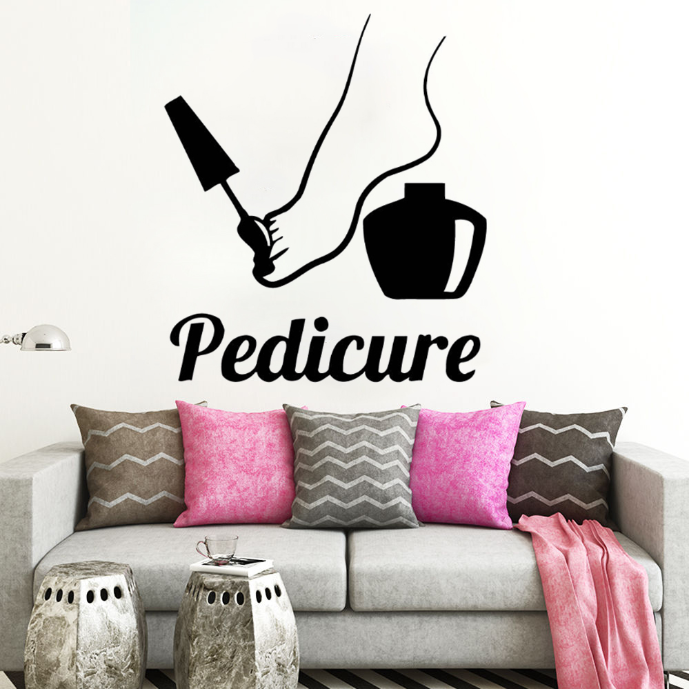 Vinyl Pedicure Wall Decal Nails Polish Nail Art Wall Sticker Removable Pedicure Wall Window Mural Nails Salon Decoration AY1098