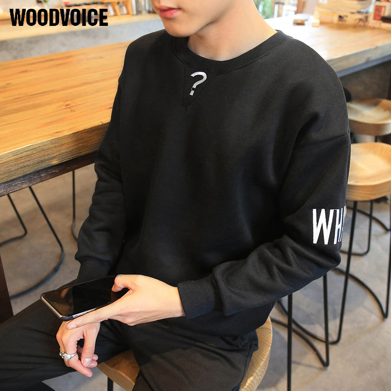 Woodvoice Brand Clothing 2017 New Autumn Winter Fashion Streatwear Fleeces Pullover Men Question Mark Printed Free Shipping W038
