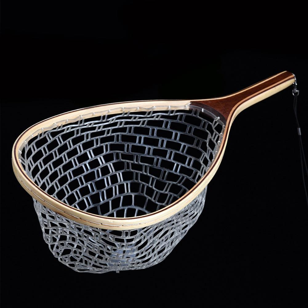 Image 2 - Горячее предложение, деревянная ручка, резина/нейлоновая сетка для ловли нахлыстом, сачок для ловли-in Рыболовная сеть from Спорт и развлечения